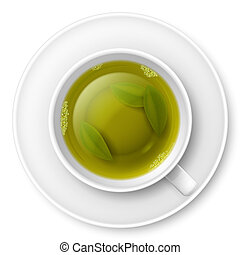 Green tea - Cup of green tea with tea leaves at the bottom