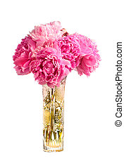 Bouquet of pink peonies in the vase isolated on white...