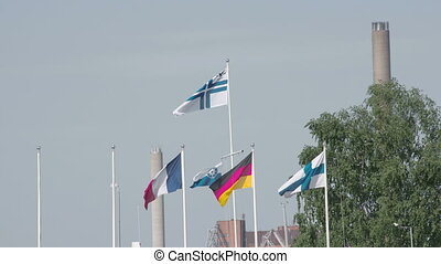 Set of European flags waving
