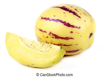Pepino fruit - juicy, fresh fruit pepino melon on white...