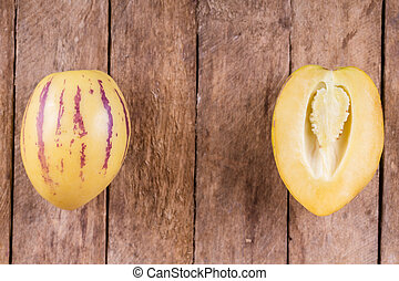 pepino melon fruit - juicy, fresh fruit pepino melon on...
