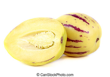 Pepino fruit - juicy, fresh fruit pepino melon on white...