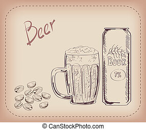 pint of beer and snack - vector sketch of a pint of beer,...