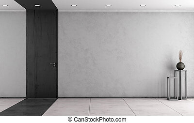 Minimalist living room with closed door - Minimalist living...