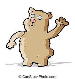 cartoon waving bear