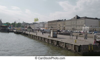 The view of the Helsinki market near the harbour port...