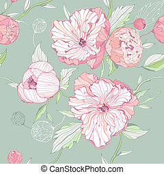 Seamless pastel colored pattern with peony flowers