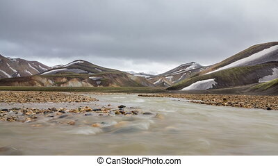 Landmannalaugar, Iceland - 4k Version of long exposure of...