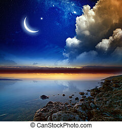 Ramadan background with moon and stars, holy month. Elements...