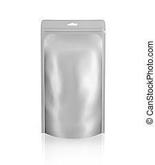 Blank foil or plastic sachet on white background