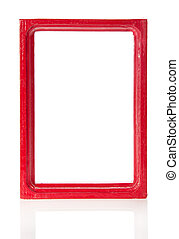 Red wooden frame for pictures or the photos, isolated on...