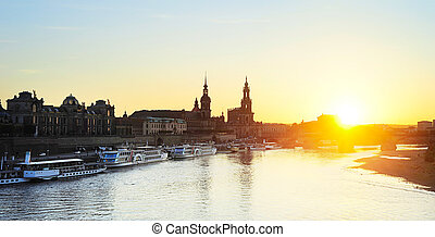 Dresden panorama - Panoramic view of Dresden Old Town at...