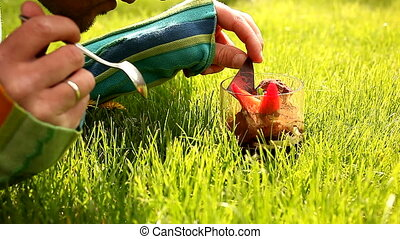 Desert In The Grass - Desert in the grass. Man eats dessert....