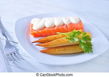 salmon and corn