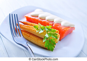salmon and corn
