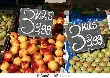 Market place - Colorful fruit at grocery marketplace in...