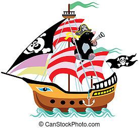 cartoon mole pirate - cartoon pirate ship with mole captain,...