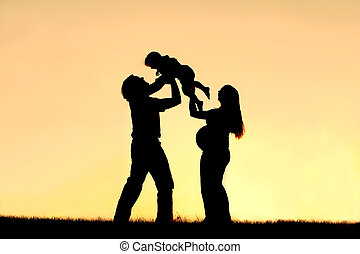 Silhouette of Happy Family Celebrating Pregnancy - A...