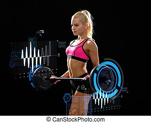sporty woman exercising with barbell - fitness, sport and...