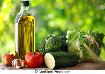 Olive oil and vegetables.