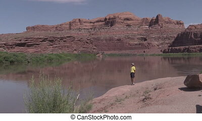 Tourist Along Colorado River Utah