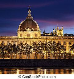 Lyon city after sunset