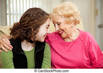 Grandmother and Teen Love - Loving teen girl and her...