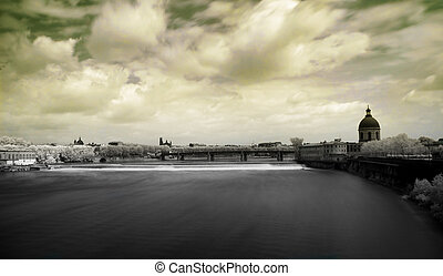 Toulouse panoramic infrared cityscape from bridge of the...