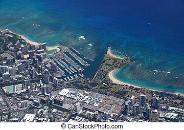 Waikiki, Ala Wai Canal, Ala Moana Mall, Park and Ocean -...