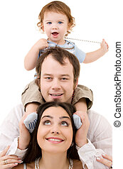 happy family - bright picture of happy family over white