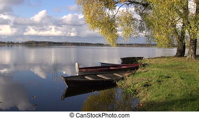 boats on autumn lake