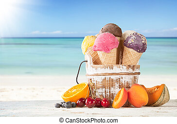 Fruit ice creams on beach - Set of various kind of fruit ice...