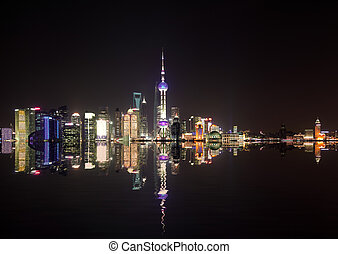 Aerial photography Shanghai skyline at night - Aerial...