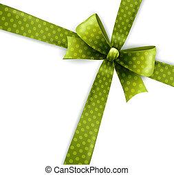 Vector isolated green polka dots bow