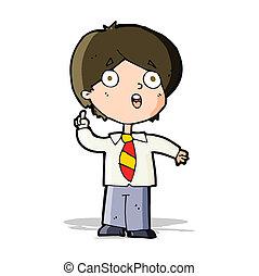 cartoon schoolboy answering question