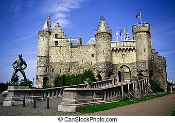 el, steen, castillo, Antwerpen