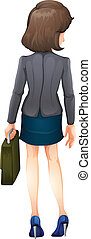 A backview of a businesswoman - Illustration of a backview...