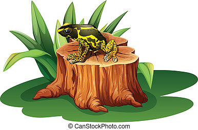 A frog above the stump - Illustration of a frog above the...