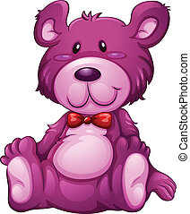 A lavender teddy bear - Illustration of a lavender teddy...