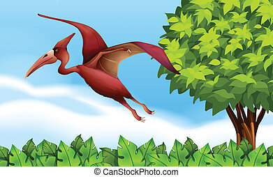 A Pterodactyl - Illustration of a Pterodactyl