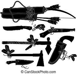 jogo, armas, americano, indianas
