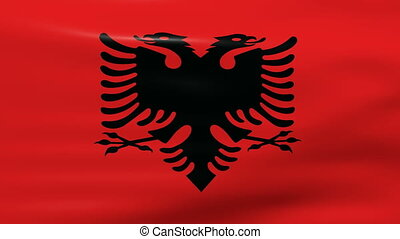 Waving Albania Flag, ready for seamless loop.