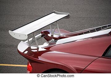 Custom Racing Spoiler - Closeup detail of a custom racing...