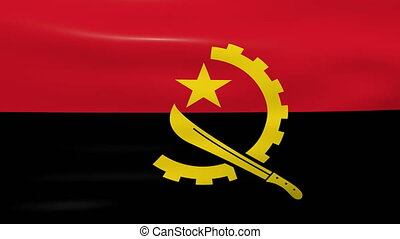 Waving Angola Flag, ready for seamless loop.