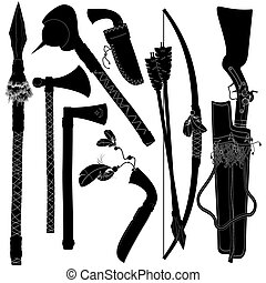 set of weapons American indian, this illustration may be...