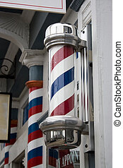 Barber Shop Pole - An old antique barber shop pole with red...