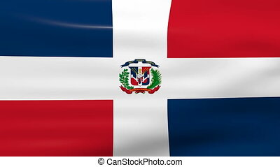 Waving Dominican Republic Flag, ready for seamless loop