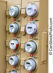 Electric Meters For Apartments - Rows of electric meters...