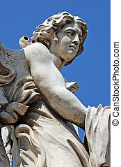 Sculpture detail - Angel statue on bridge in front at Castel...