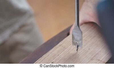 Industrial Wood Drill Spade Bit Clo - Close up shot of a...